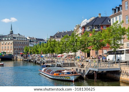 Scenic summer view of the Old Town and canal in Copenhagen, Denmark in a summer day - stock photo