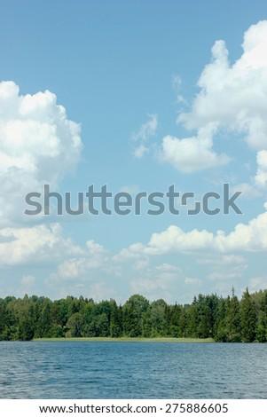 Scenic summer view of Zvirgzdu Lake in Kurzeme, Latvia (Europe). - stock photo