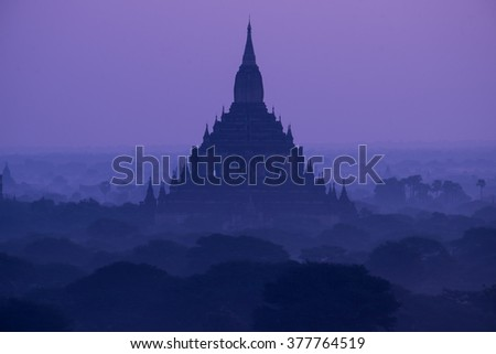 Scenic sunset at bagan myanmar. Stand alone pagoda