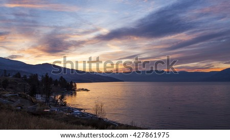 Scenic Sunset on Mountain lake