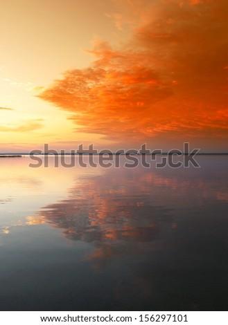 Scenic sunset over famous Belarusian lake Naroch  - stock photo