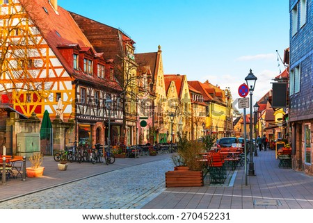 Scenic sunset view of ancient buildings and street architecture in the Old Town of Furth, Bavaria, Germany - stock photo