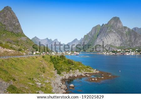 Scenic town of Reine on Lofoten islands in Norway - stock photo