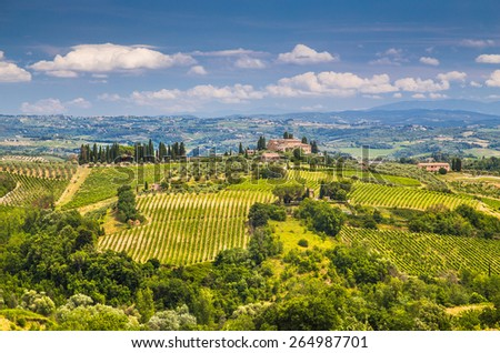 Scenic Tuscany landscape with rolling hills and valleys in Val d'Orcia, Italy - stock photo