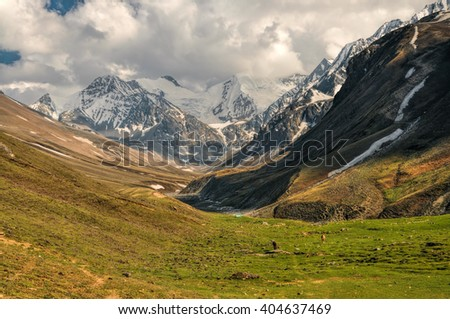 Scenic valley in Himalayas mountains in Nepal - stock photo