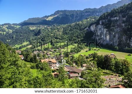 Scenic valley landscape in Lauterbrunnen, Switzerland - stock photo