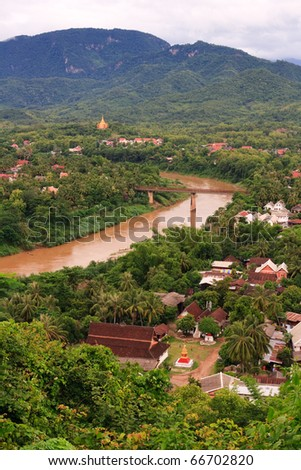 Scenic view across Luang Prabang and Mekong River, Laos - stock photo