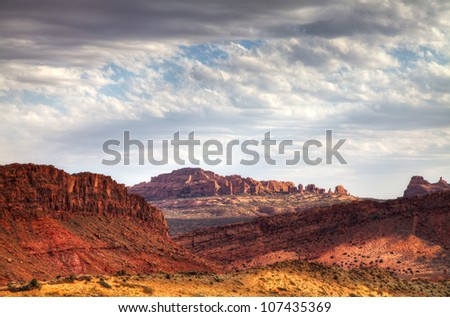 Scenic view at Arches National Park, Utah, USA in sunny day - stock photo