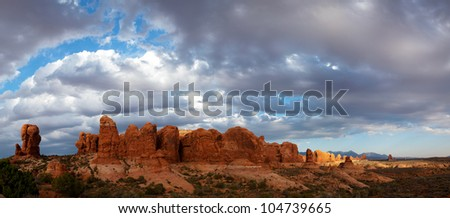 Scenic view at Arches National Park, Utah, USA in the evening light - stock photo