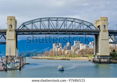 Scenic view at Burrard Bridge from Granville Island, Vancouver, Canada. - stock photo