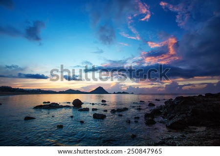 Scenic view at Indian ocean at Indonesia, Lombok island - stock photo