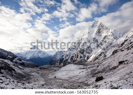 Scenic view at Khumbu valley in Himalayas