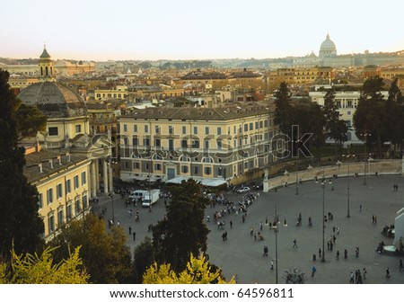 scenic view at sunset on Piazza del Popolo, Rome,Italy - stock photo