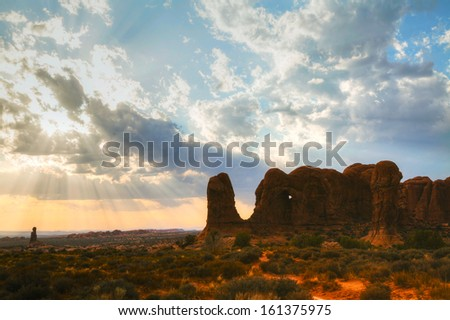 Scenic view at the Arches National Park, Utah, USA in the evening light - stock photo