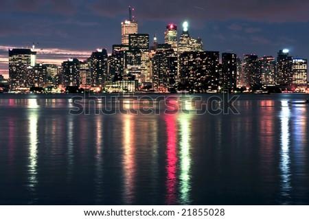 Scenic view at Toronto city waterfront skyline at night - stock photo