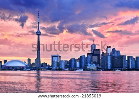 Scenic view at Toronto city waterfront skyline at sunset - stock photo