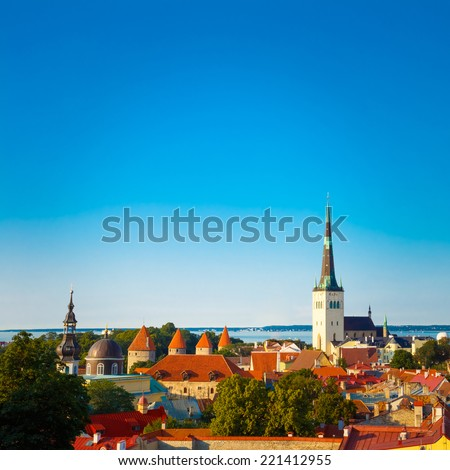 Scenic View Cityscape Old City Town Tallinn In Estonia - stock photo