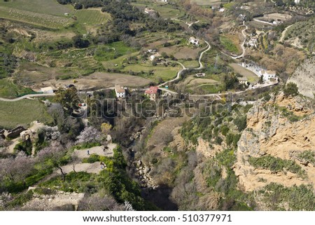 Scenic view down from Ronda, Andalucia