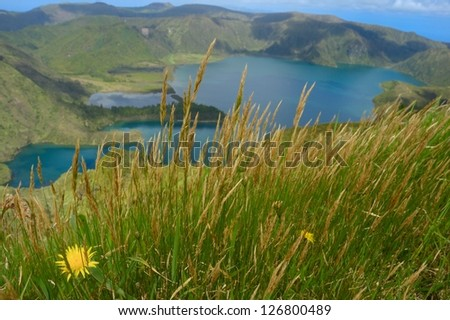 scenic view from fire lagoon in azores - stock photo
