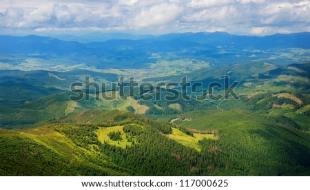 scenic view from highness of mountain - stock photo