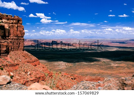 Scenic view from Moki Dugway overlooking Valley of the Gods, San Juan County, Utah, United States - stock photo