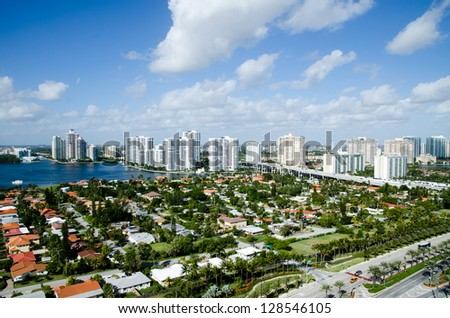 Scenic view from the skyscraper hotels in Miami - stock photo