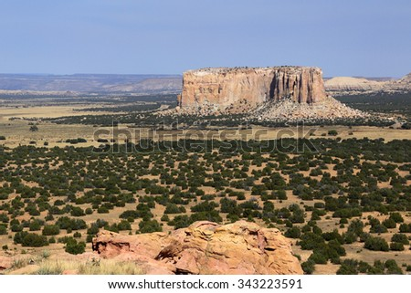 Scenic view from the top of the Acoma Pueblo mesa in New Mexico. - stock photo