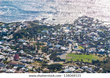 Scenic View in Cape Town, Table Mountain, South Africa  from an aerial perspective - stock photo