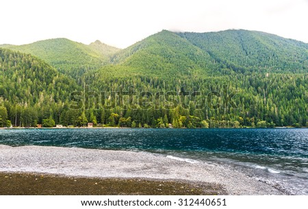 scenic view in  lake Crescent in Olympic national park,Washington State.Usa