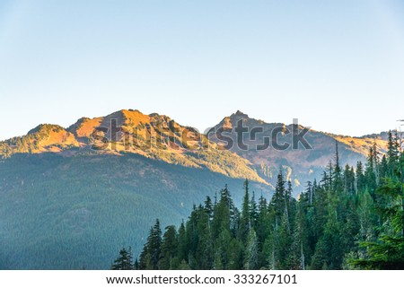 scenic view in Mt. Baker Snoqualmie National Forest Park,Washington,USA. - stock photo