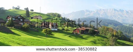 Scenic view in Voralp, Switzerland - stock photo