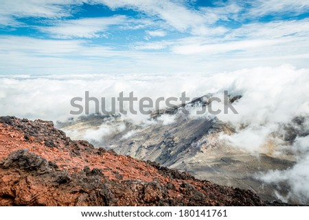 Scenic view Mount Nghauruhoe, North Island, New Zealand - stock photo