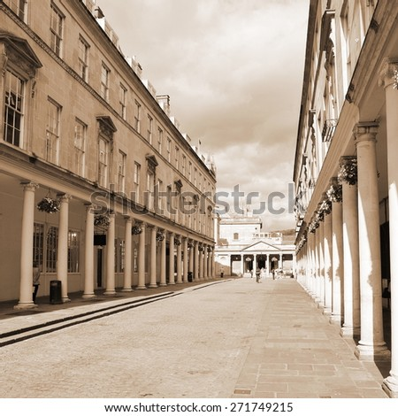 Scenic View of a Beautiful Quiet Street in the Landmark City of Bath in the County of Somerset in England - stock photo