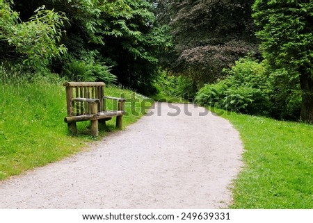 Scenic View of a Footpath and Beach on a Beautiful Forest Trail - stock photo