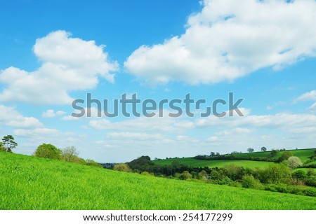 Scenic View of a Green Farmland Field with a Beautiful Blue Cloudy Sky above in Wiltshire England - stock photo