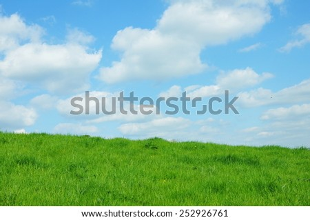 Scenic View of a Green Grassy Field with a Beautiful Sky Above - stock photo