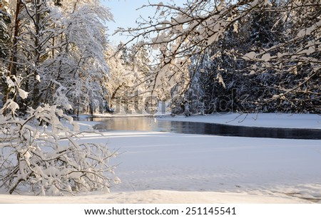 Scenic view of a river in winter - stock photo