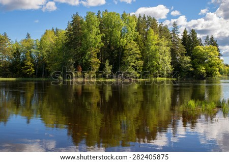 Scenic view of a river landscape in spring - stock photo