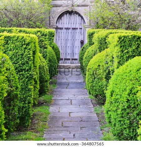 Scenic View of a Stone Paved Topiary Lined Garden Path Leading to an Old Oak Doorway - stock photo