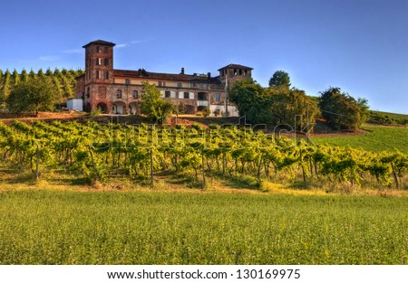 Scenic view of a winery, Langhe, Piedmont, Italy - stock photo