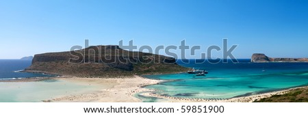 Scenic view of Balos bay (Gramvousa, Crete, Greece) - stock photo