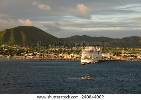 Scenic view of Basseterre, capital of St Kitts and Nevis in the Caribbean - stock photo