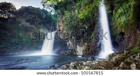 Scenic view of Bassin la Paix waterfall on Reunion Island.