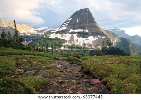 Scenic view of Bearhat Mountain in Glacier National Park, Montana. - stock photo