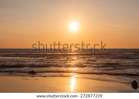 Scenic View Of Beautiful Sunset Above The Pacific Ocean  - stock photo