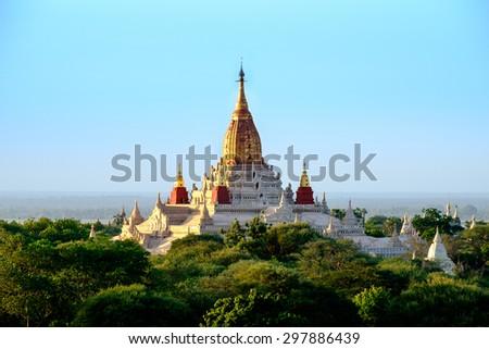 Scenic view of buddhist Ananda temple in old Bagan area, Myanmar (Burma) - stock photo