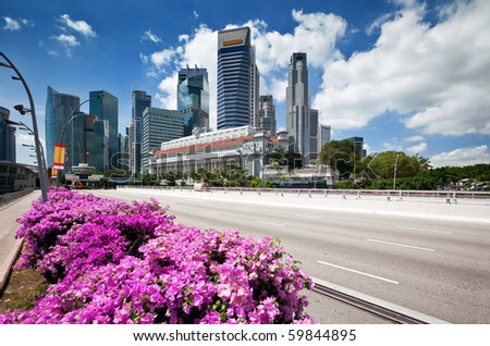 Scenic view of business district at Singapore city - stock photo