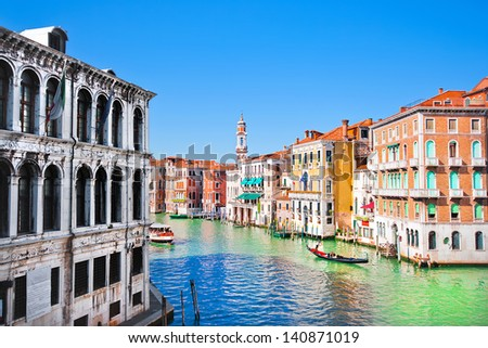 Scenic view of Canal Grande in Venice, Italy as seen from Rialto bridge - stock photo