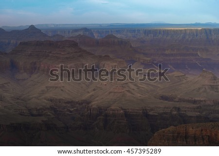 Scenic view of Canyon from overlook point, South Rim Grand Canyon National Park Arizona USA - stock photo