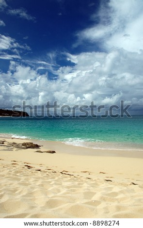 Scenic view of Caribbean Beach with Storm Approaching